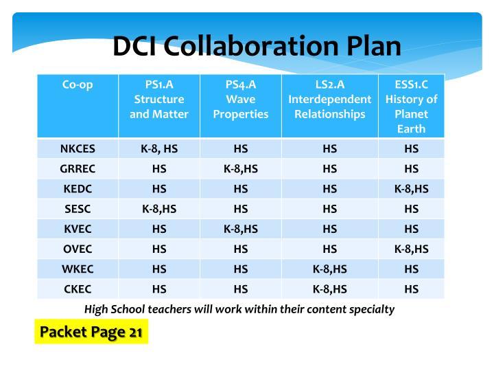 DCI Collaboration Plan