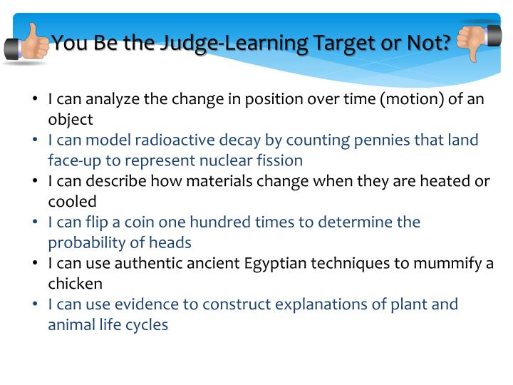 You Be the Judge-Learning Target or Not?