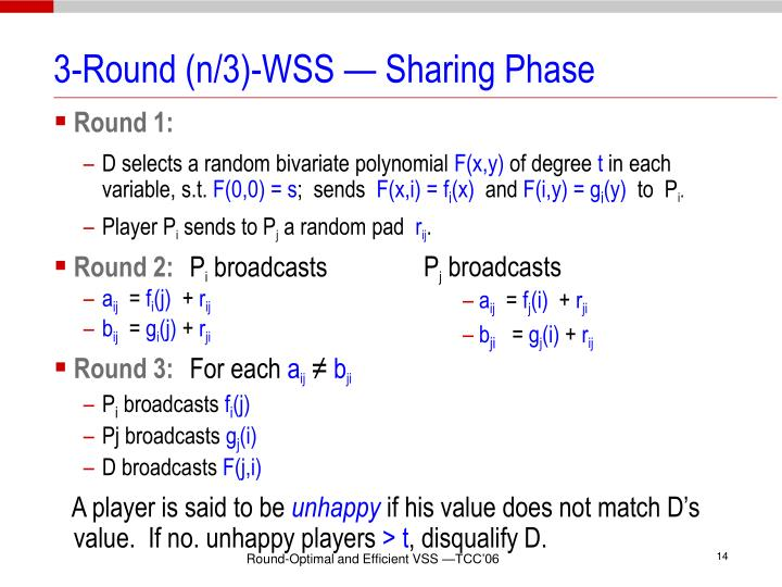 3-Round (n/3)-WSS — Sharing Phase