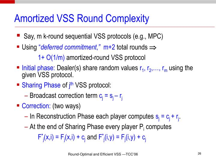 Amortized VSS Round Complexity