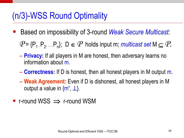 (n/3)-WSS Round Optimality