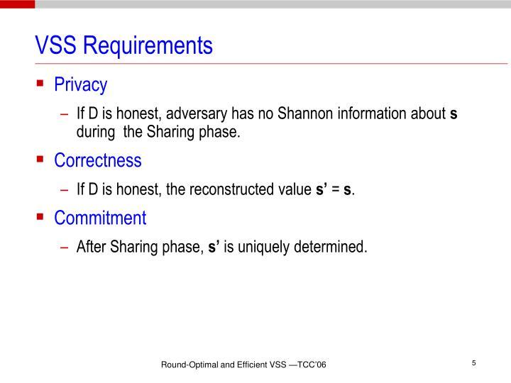 VSS Requirements