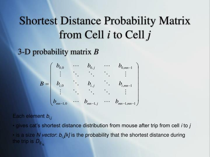 Shortest Distance Probability Matrix from Cell