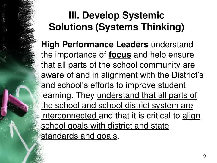 III. Develop Systemic Solutions (Systems Thinking)