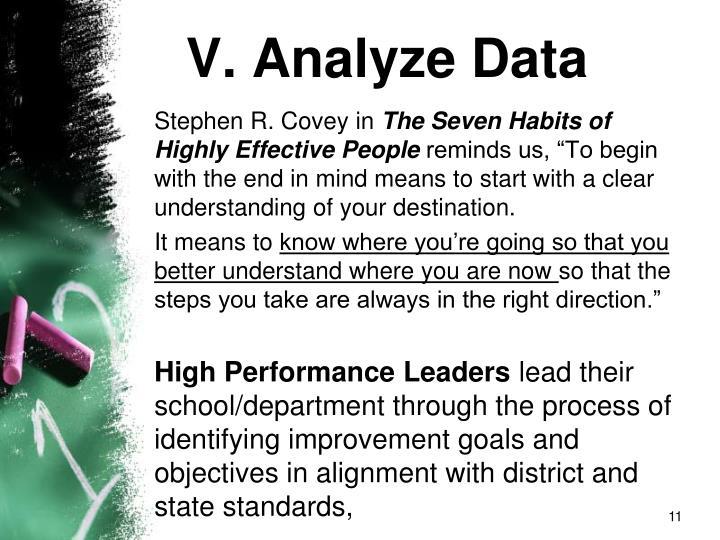 V. Analyze Data
