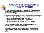 adequacy of the reformed pension system