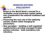 pension reform philosophy