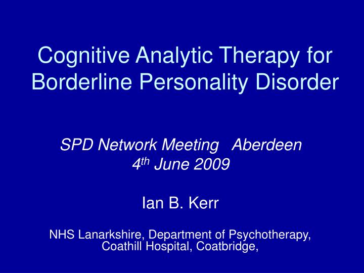 cognitive analytic therapy for borderline personality disorder n.