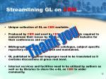 streamlining gl on cbm