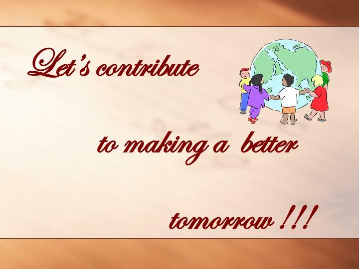 Let's contribute