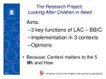 the research project looking after children in need