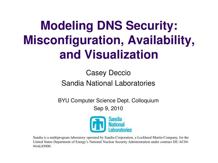 modeling dns security misconfiguration availability and visualization