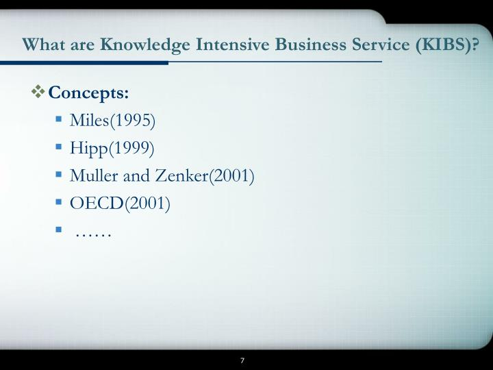 What are Knowledge Intensive Business Service (KIBS)?