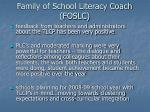 family of school literacy coach foslc