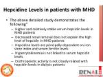 hepcidine levels in patients with mhd