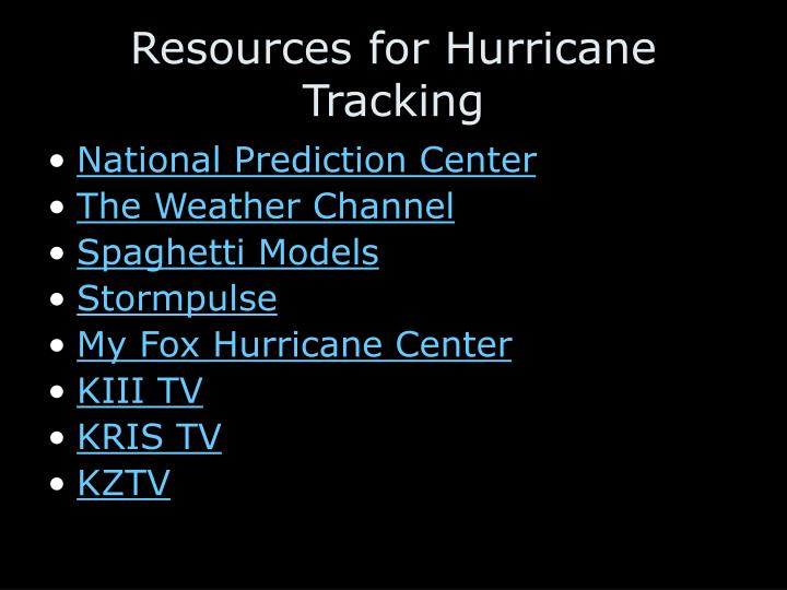 Resources for Hurricane Tracking
