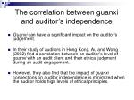 the correlation between guanxi and auditor s independence