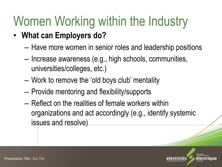 Women Working within the Industry