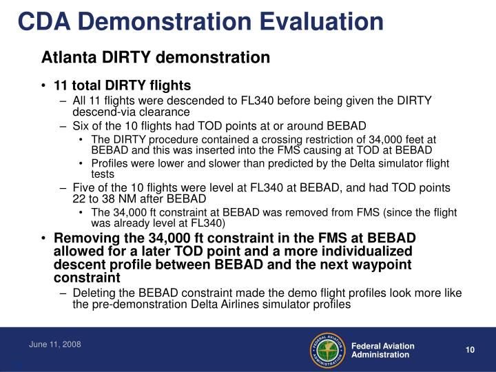 CDA Demonstration Evaluation