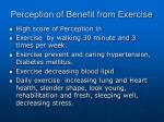 perception of benefit from exercise