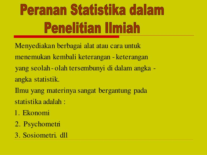 Peranan Statistika dalam