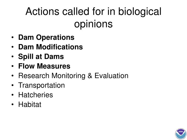 Actions called for in biological opinions