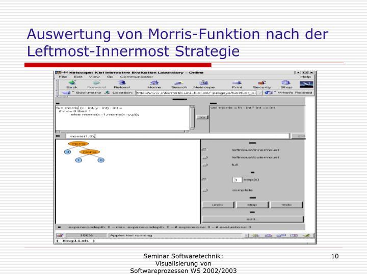 Auswertung von Morris-Funktion nach der Leftmost-Innermost Strategie
