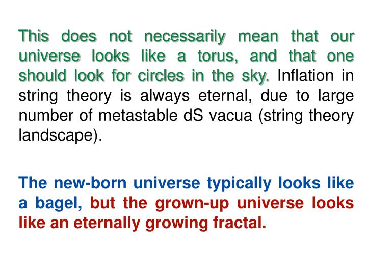 This does not necessarily mean that our universe looks like a torus, and that one should look for circles in the sky.