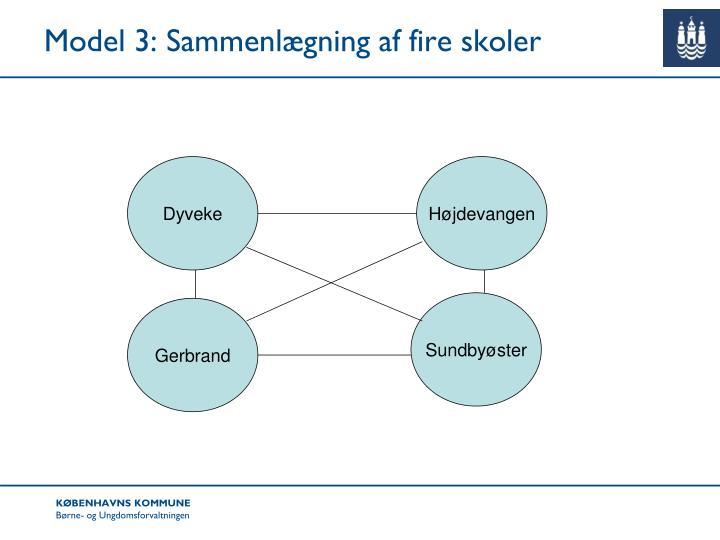 Model 3: Sammenlægning af fire skoler