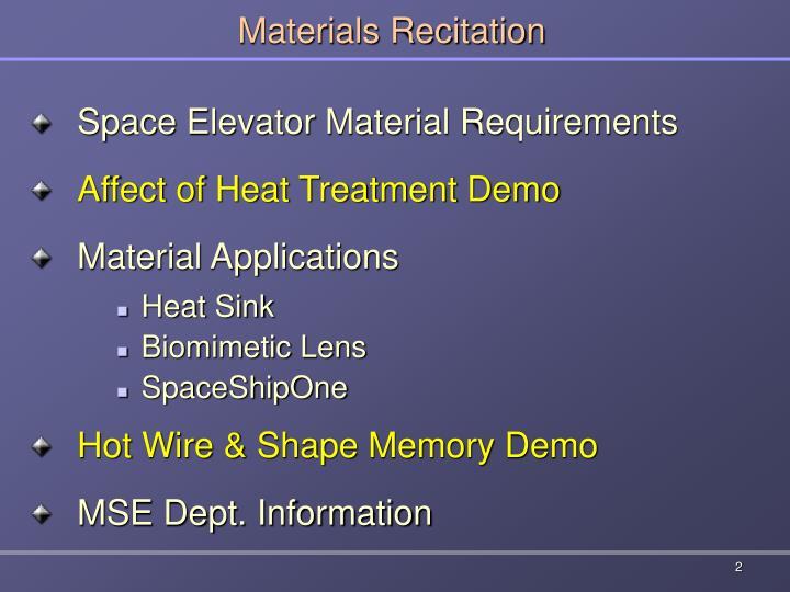 Materials recitation