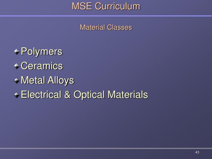 MSE Curriculum