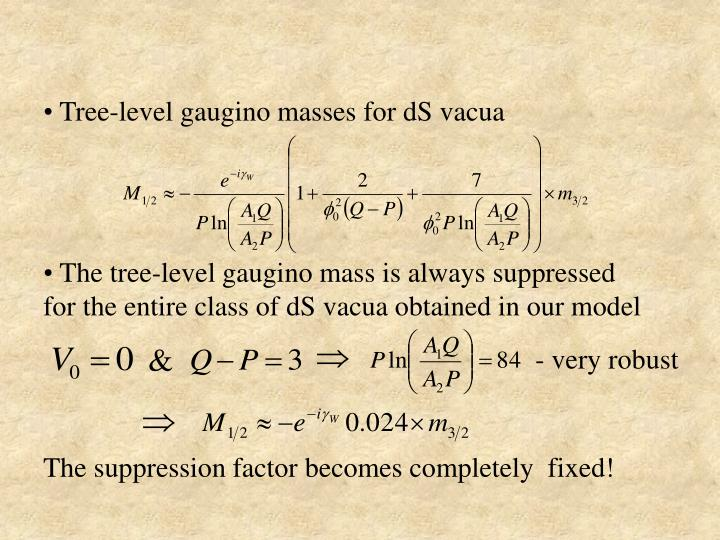 Tree-level gaugino masses for dS vacua