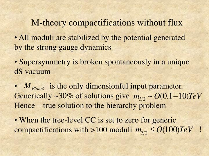 M-theory compactifications without flux
