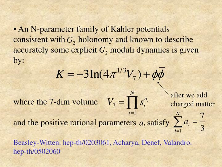 An N-parameter family of Kahler potentials consistent with      holonomy and known to describe accurately some explicit      moduli dynamics is given by: