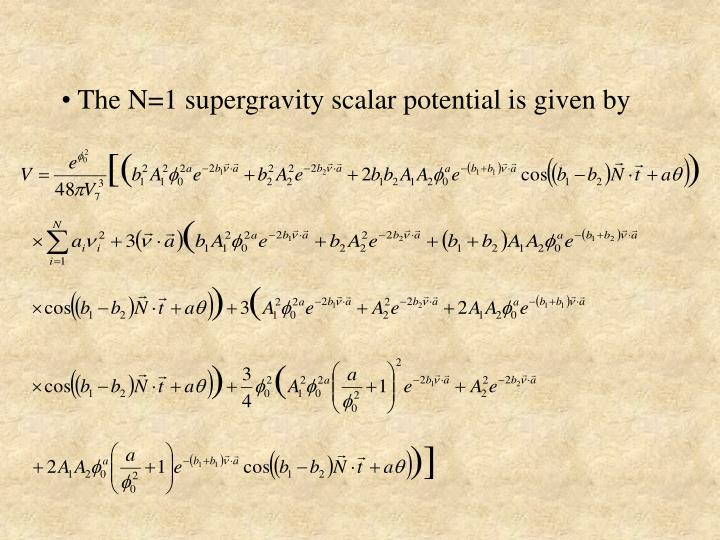 The N=1 supergravity scalar potential is given by