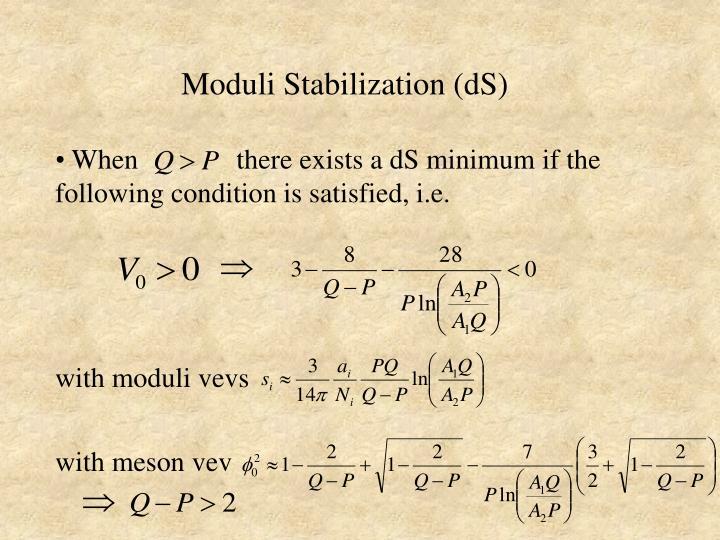 Moduli Stabilization (dS)