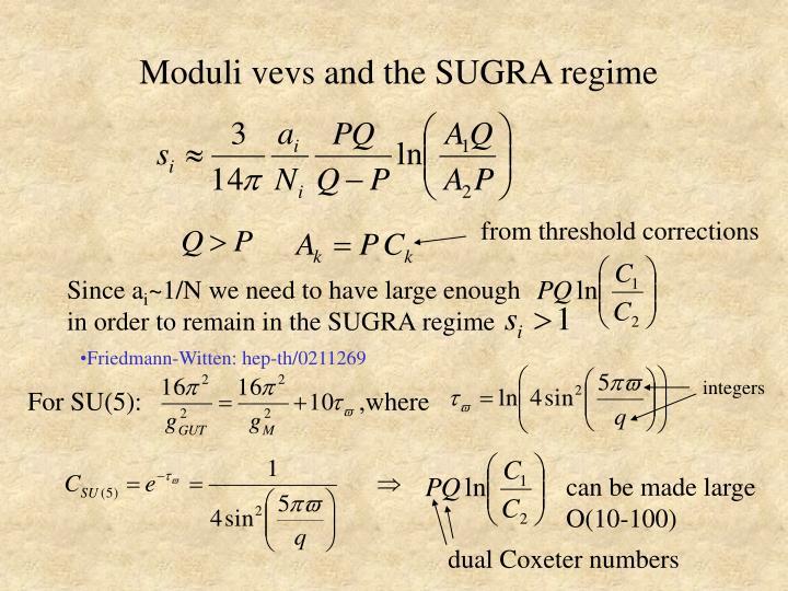Moduli vevs and the SUGRA regime