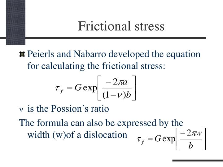 Frictional stress