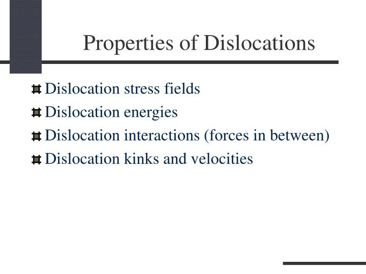 Properties of Dislocations