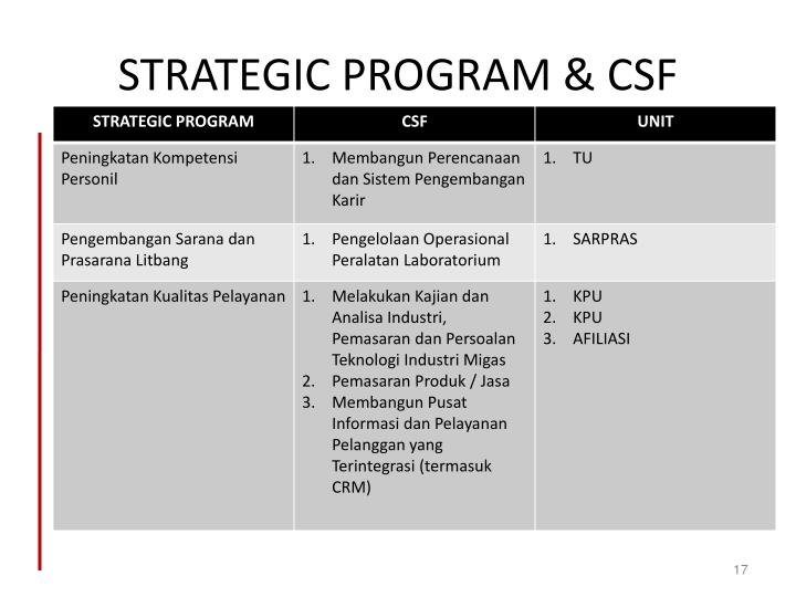 STRATEGIC PROGRAM & CSF