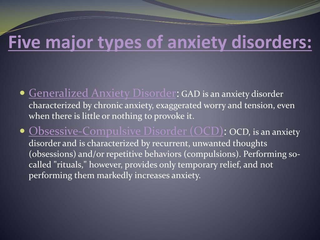 Five Major Types Of Anxiety Disorders - Etuttor