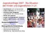 jugendumfrage 2007 die situation der kinder und jugendlichen in uri