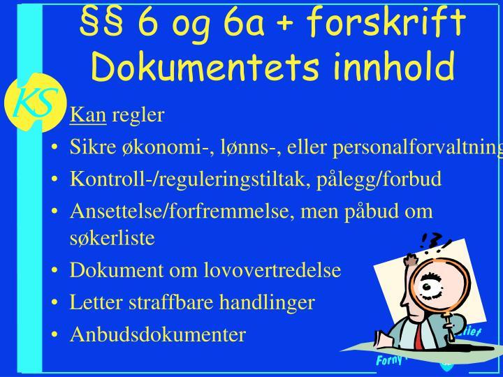§§ 6 og 6a + forskrift  Dokumentets innhold