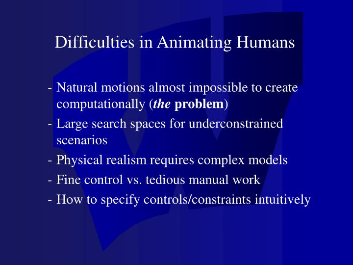 Difficulties in Animating Humans