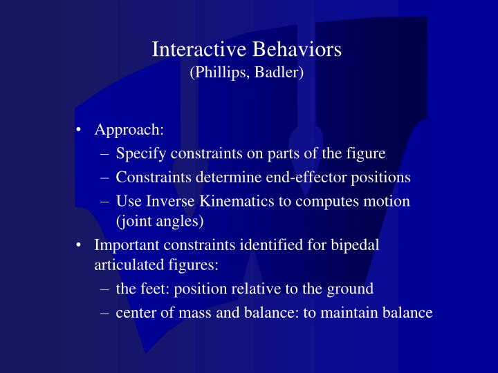 Interactive Behaviors