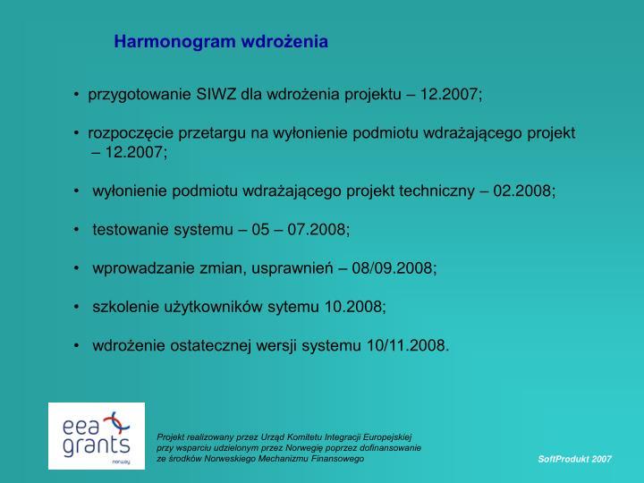 Harmonogram wdrożenia