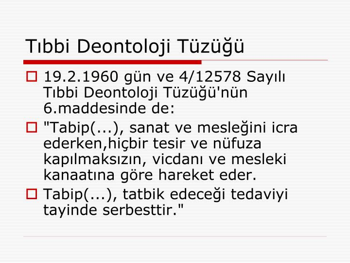 Tıbbi Deontoloji Tüzüğü
