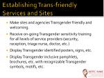 establishing trans friendly services and sites