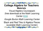 college algebra for teachers materials