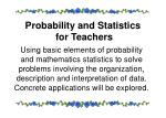 probability and statistics for teachers